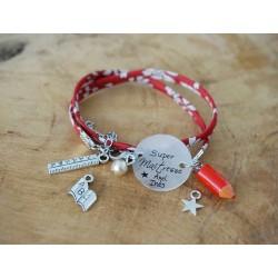 bracelet double tour liberty  à personnaliser Maîtresse