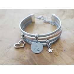 """bracelet cuir daim gravé """"Carpe Diem"""""""